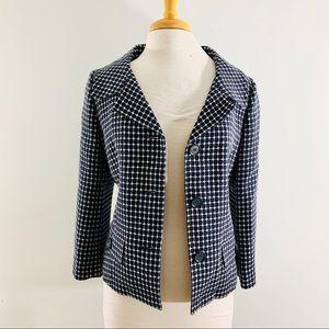 Ann Taylor Navy Blue & White Blazer Sz 10